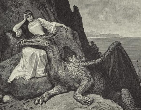 Dragon Resting Its Head On The Lap Of A Woman, by R. Leinweber, New York Public Library